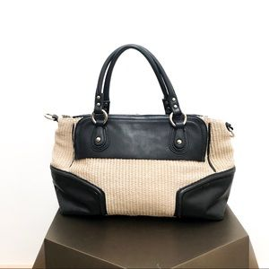 Ann Taylor Leather and Straw Handbag